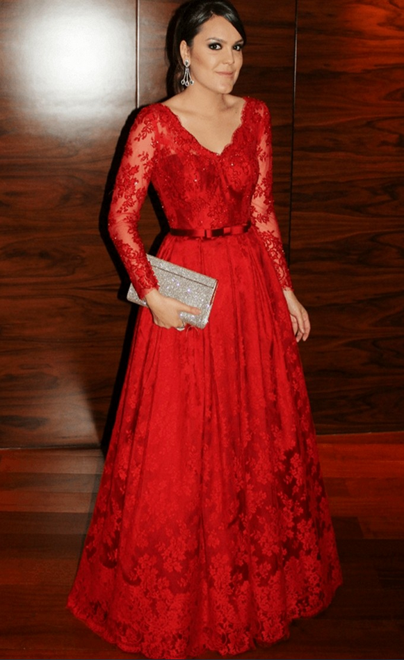44d3a2acccce Elegant V-neck Lace Applique Red Prom Dress Belt Long Sleeves Beads ...