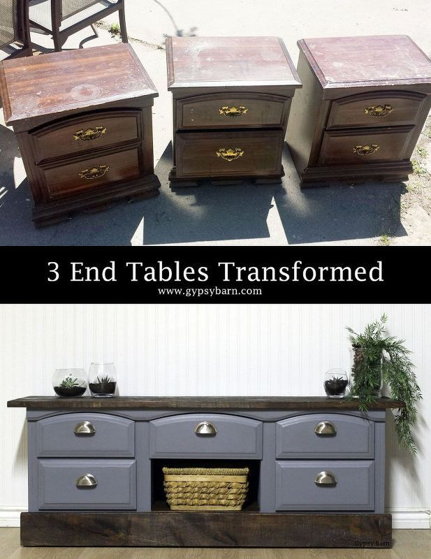 home decor painting transforming 3 ruined end tables, diy, home decor, painted furniture, repurposing upcycling