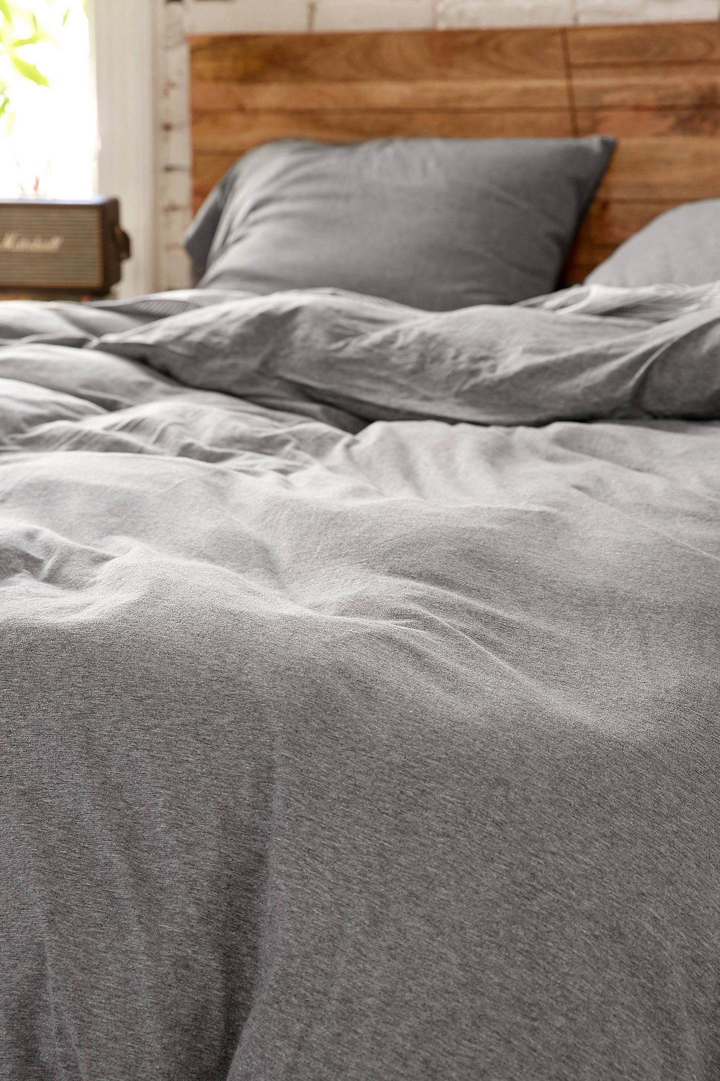 Slide View: 4: Heather Grey Jersey Duvet Set