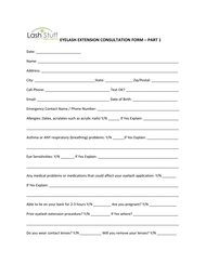 Eyelash Extension Appointment Consultation Form - Part 1 | Lash ...