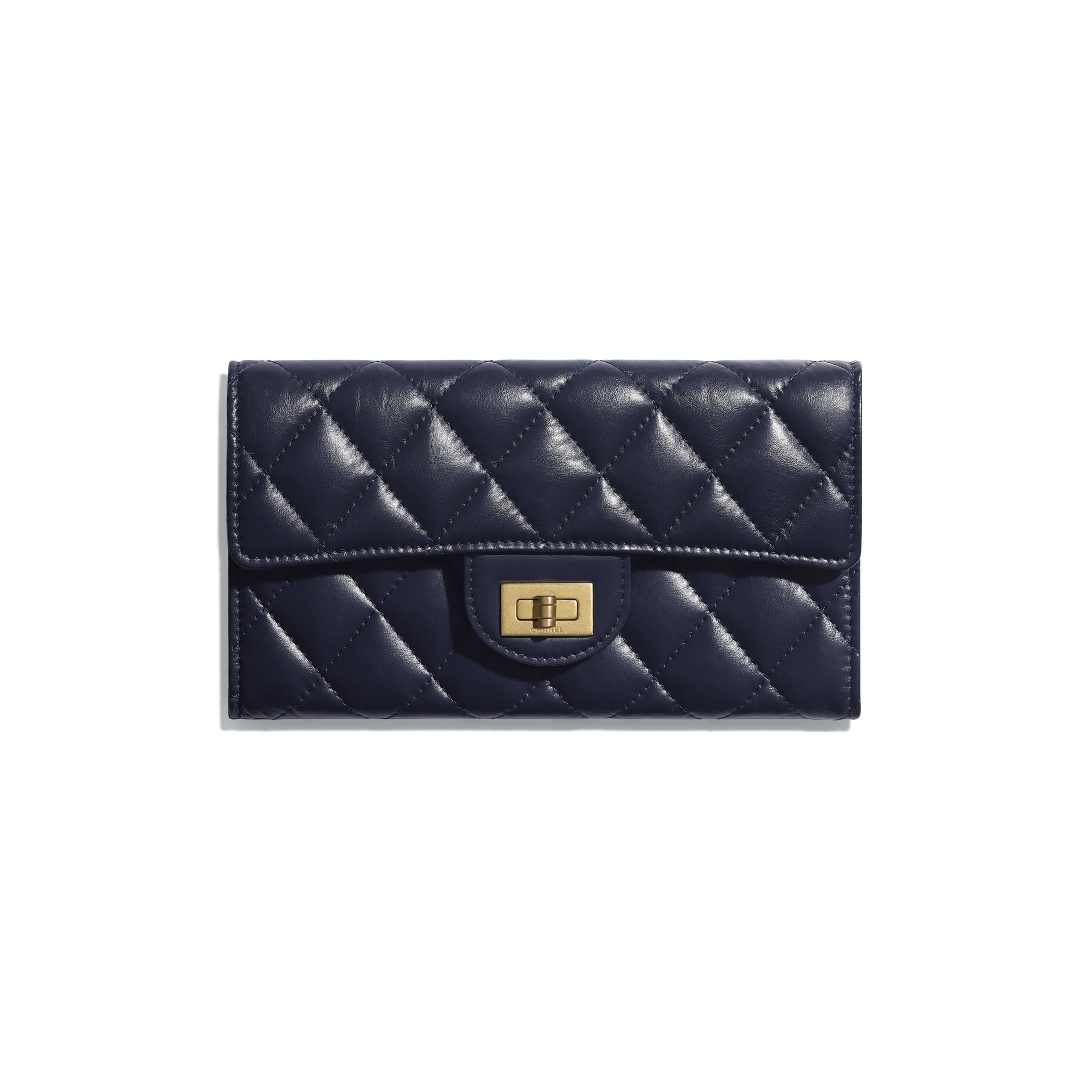 52588143844a 2.55 Flap Wallet - Navy Blue - Aged Calfskin & Gold-Tone Metal - Default  view - see full sized version