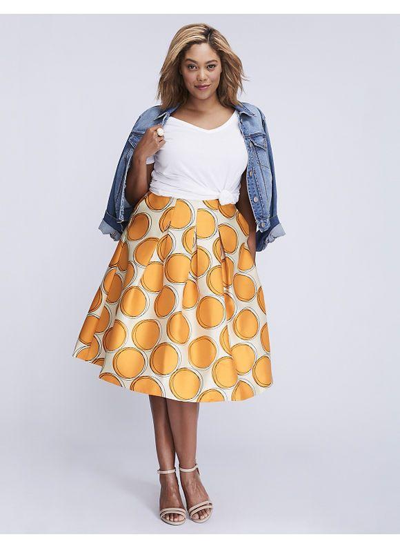 5e4b43d0da Lane Bryant Plus Size Box Pleated Circle Skirt, Women's, Size: 26, Big  Scribble…