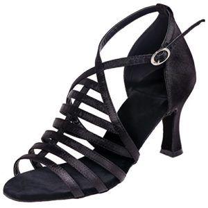 LOSLANDIFEN Women's Open Toe Ankle Strap Dance Shoes Gauze Breathable Salsa Tango Latin Sandals(8349-16ASilk35,Black-A) $99.99