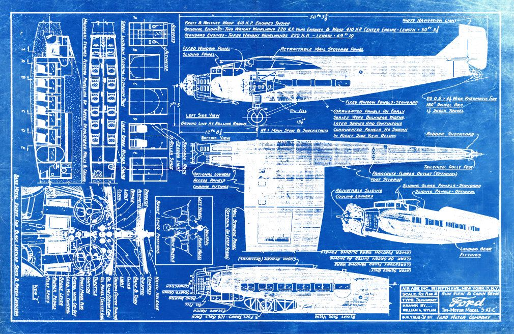 Blueprint art of a ford trimotor plane with cabin views technical blueprint art di un ford trimotor aereo con cabina di bigbluecanoe malvernweather Images