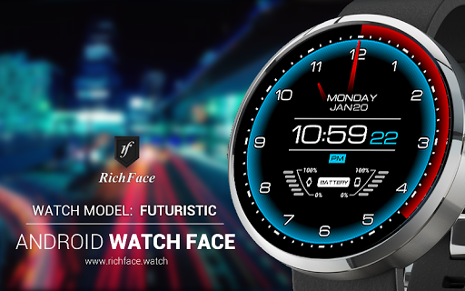 Futuristic Watch Face:can Custom color configuration,Custom hour format.https://play.google.com/store/apps/details?id=com.watch.richface.futuristic