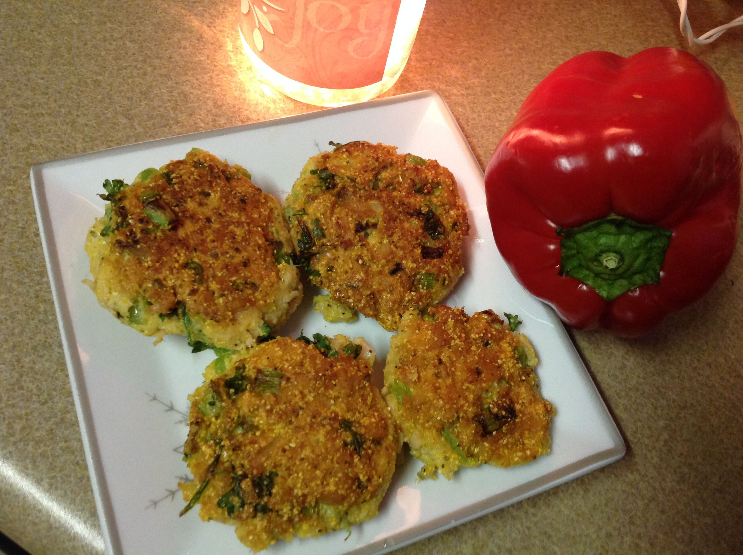 Tuna Patties - Tuna with fresh parsley, green onions and other good seasonings. They were lightly seared with grape seed oil.