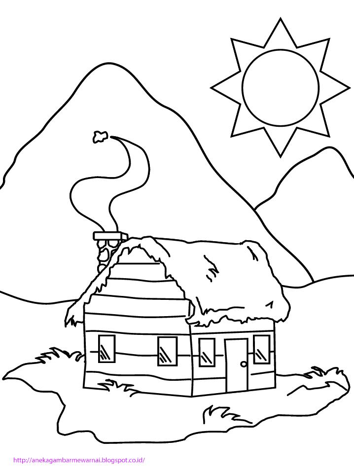 Gambar Untuk Mewarnai Rumah : gambar, untuk, mewarnai, rumah, Gambar, Mewarnai, Rumah, Mewarnai,, Warna,, Lembar