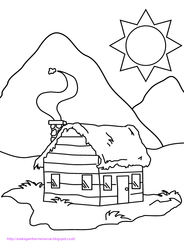 Gambar Mewarnai Rumah Untuk Anak Paud Dan Tk Aneka Gambar Mewarnai