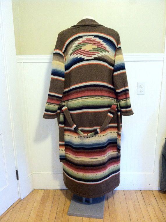 9ab21ec82 RALPH LAUREN SWEATER Hand knit Serape Southwest Aztec M Western Lambs Wool  Indian Blanket Tribal Maxi Shawl Collar Sweater Coat Vintage