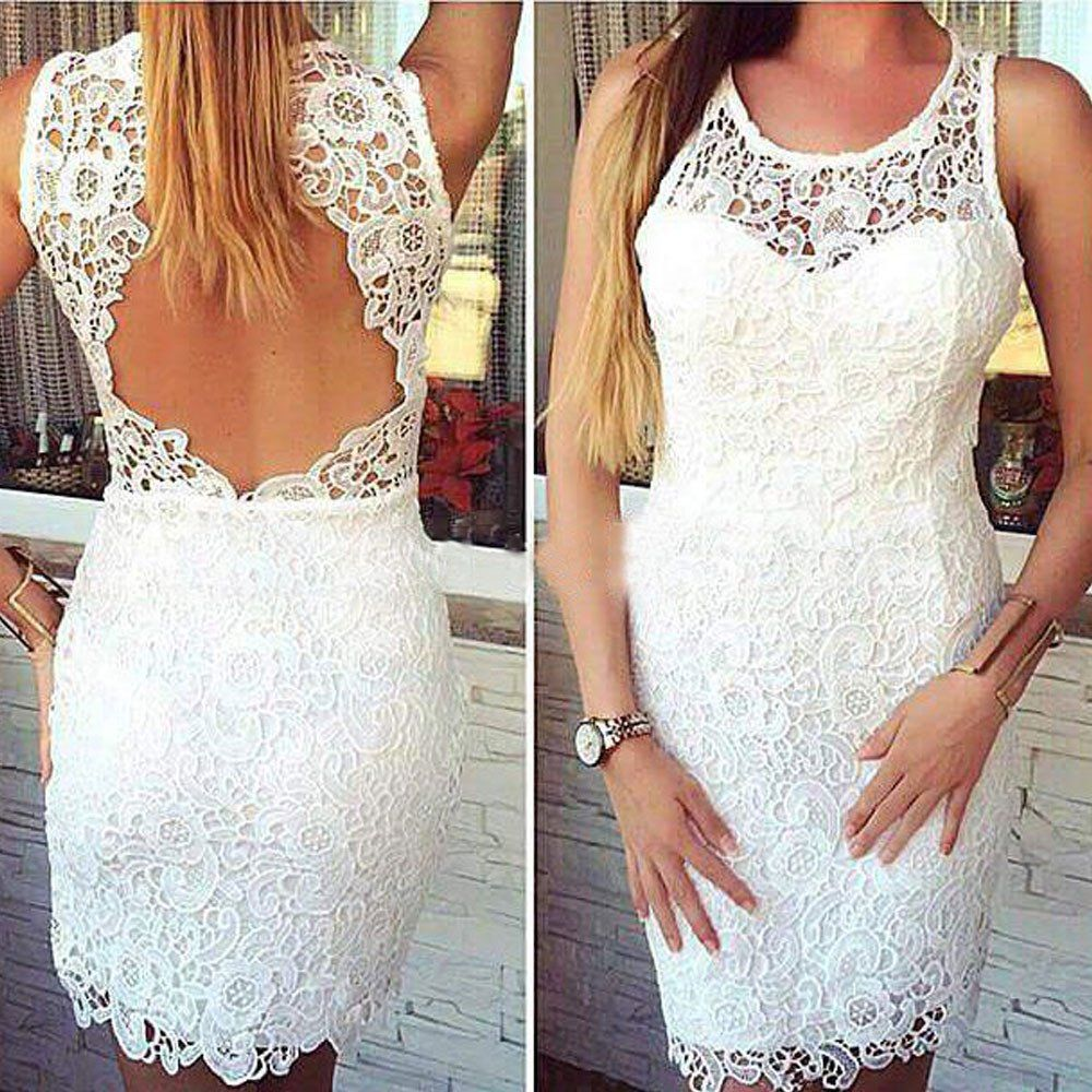 Sheath illusion neck white lace dressesopen back mini short prom