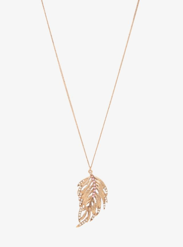 Perfect for any season, a crystal clear and rose colored gemstone-encrusted leaf hangs on this textured gold tone drop necklace.