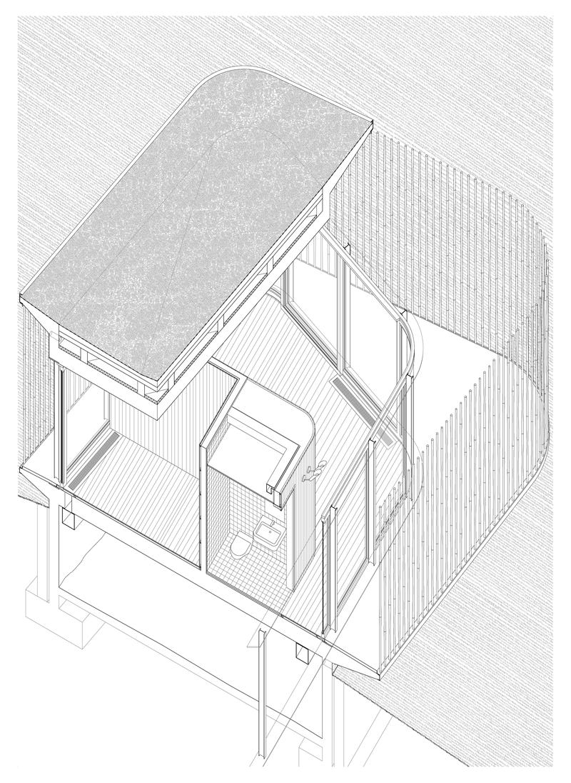 House. Axonometr a constructiva  Casa Fo Shou por Mansilla Tu  n