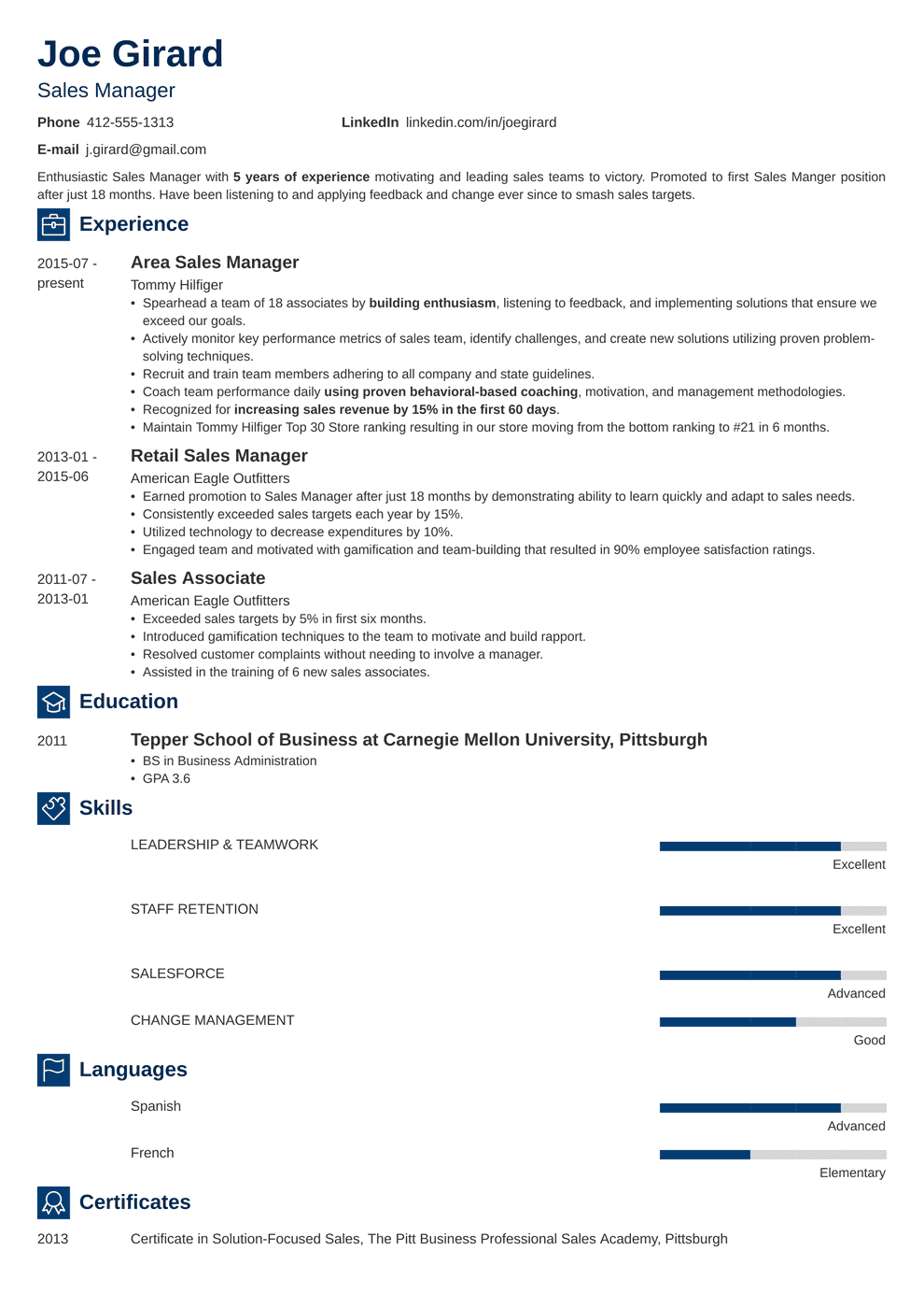 sales manager resume template newcast in 2020 Manager