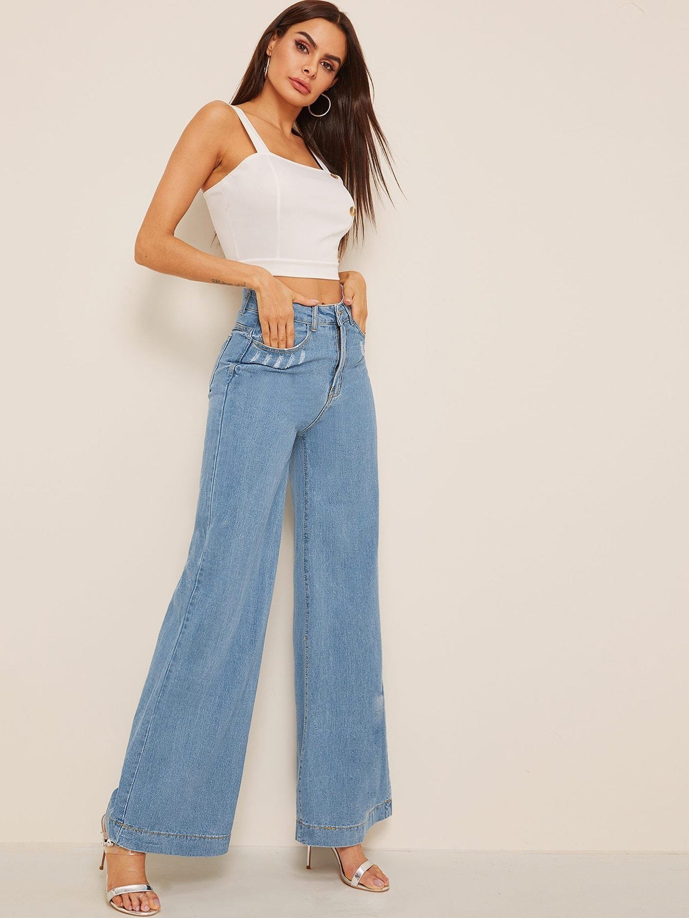 Photo of Ripped Detail Wide Leg Jeans