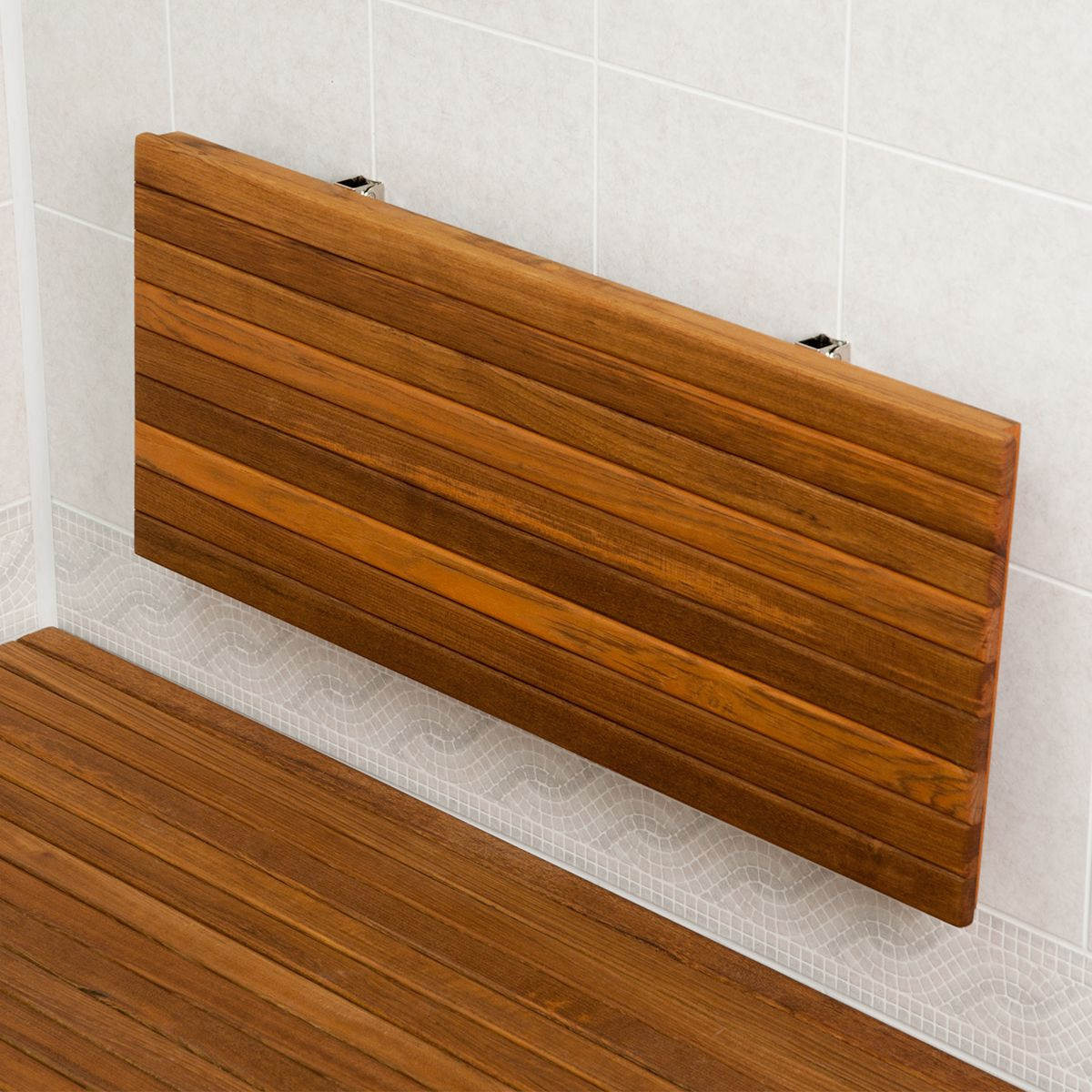 24 Teak Wall Mount Fold Down Teak Shower Bench Seat