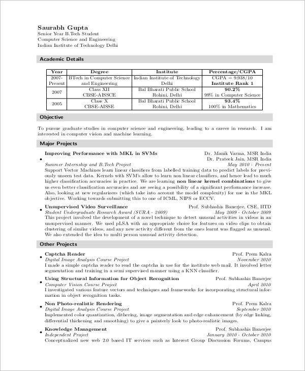 sample computer science resume stylish sample puter science resume 8 examples in word pdf of