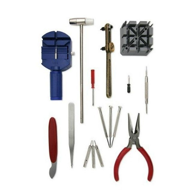 Take pricey watch repairs into your own able hands with this do it take pricey watch repairs into your own able hands with this do it yourself watch repair tool kit this sixteen piece set features everything you could need solutioingenieria Choice Image