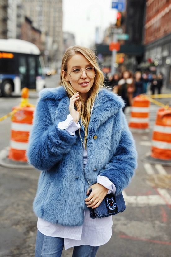 The 50 Most Stylish Items To Buy Right Now Fur Coat Street Style Fake Fur Coat Street Style Blue Faux Fur Coat