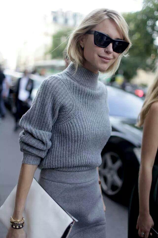 Gray Sweater Gray Skirt