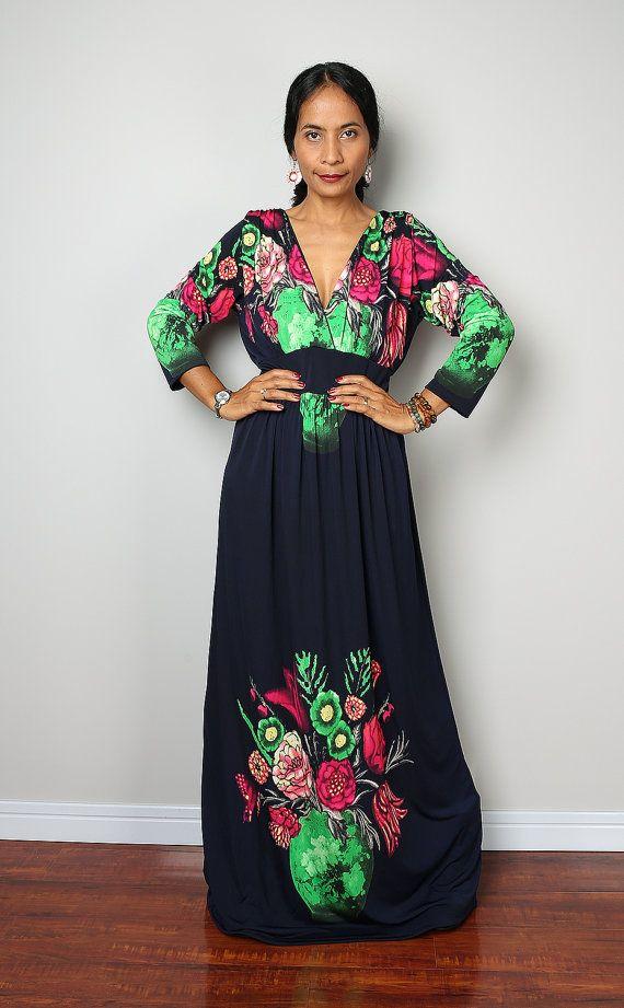 Floral Maxi Dress / Long Sleeved Boho Maxi Dress  : by Nuichan