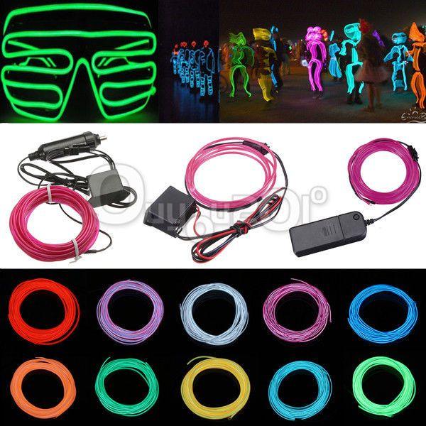 Details zu 1/2/3/4/5M EL Neon Kabel Licht Effekt Lichtschnur ...