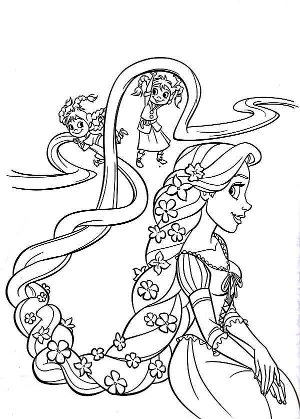 Tangled Coloring Rapunzel HairKids