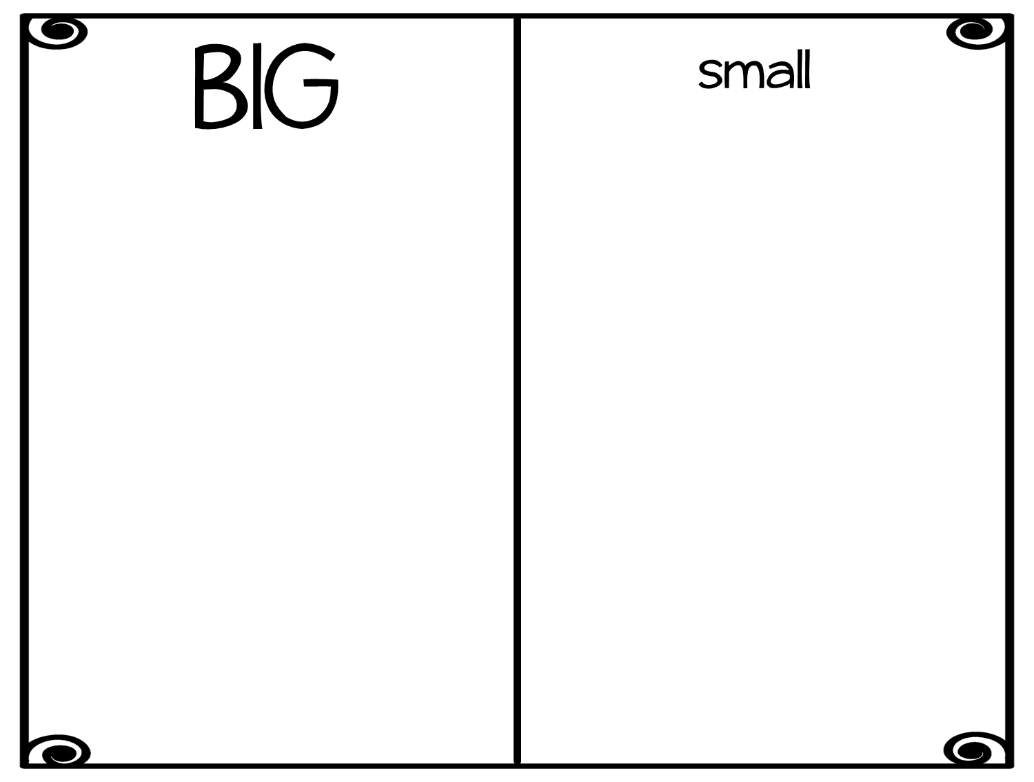 Worksheets Worksheet-big-and-small esl adjectives big and small give children the worksheet have them cut out pictures from magazines or draw in both size