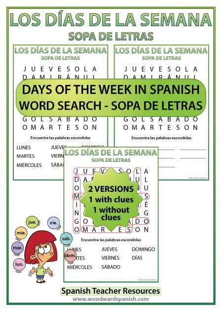 Days of the Week u2013 Spanish Word Search u2013 Sopa de Letras de los du00edas de la semana