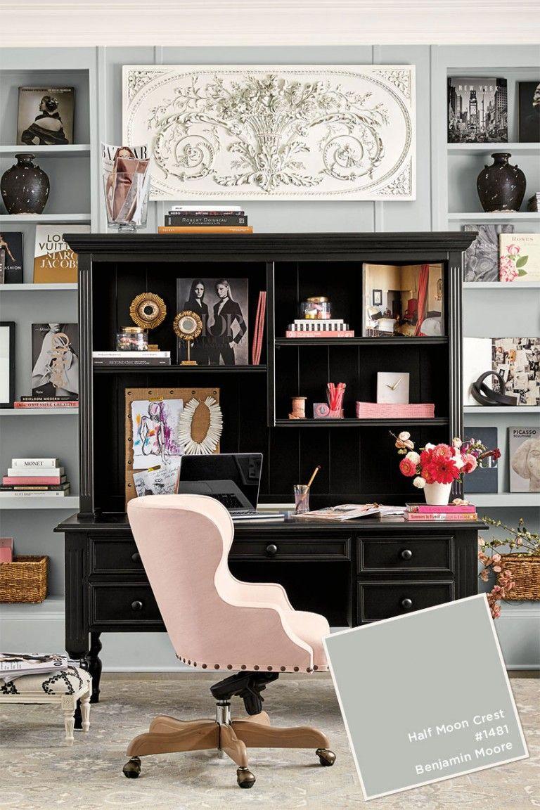 pink office decor. Benjamin Moore\u0027s Half Moon Crest In Ballard Designs Winter 2017 Catalog Pink Office Decor