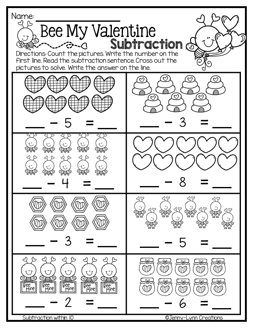 Valentine Addition Subtraction No Prep Kindergarten Math Worksheets Learn Basic Math Math Worksheets