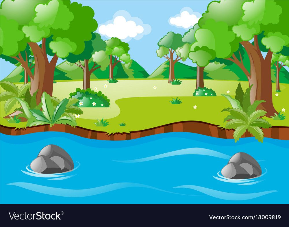 Nature Scene With River And Field Vector Image On Lukisan Belajar Melukis Desain