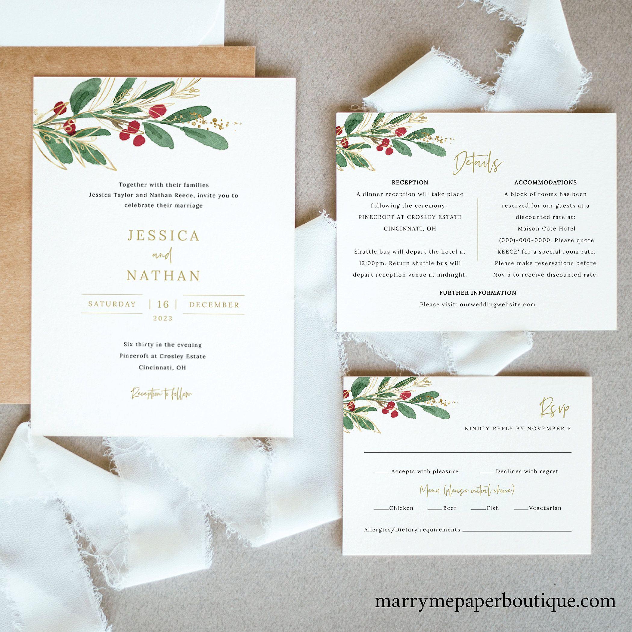 Christmas wedding invitations uk