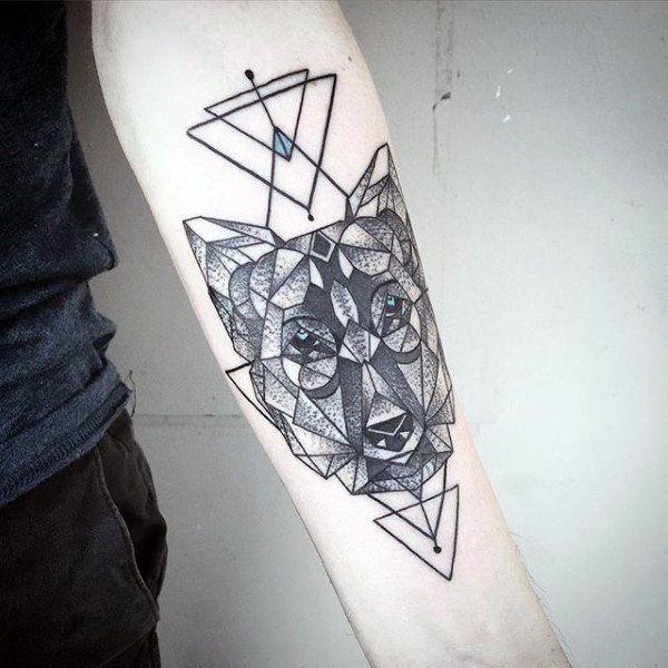 90 Geometric Wolf Tattoo Designs For Men Manly Ink Ideas Geometric Wolf Tattoo Wolf Tattoo Design Tattoo Designs Men