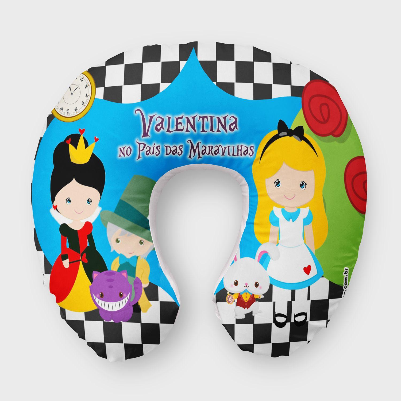 Almofada De Pescoco Personalizada Para Festa Infantil Alice Nos