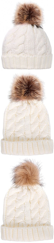 Simplicity Men / Women's Winter Hand Knit Faux Fur Pompoms Beanie Hat White