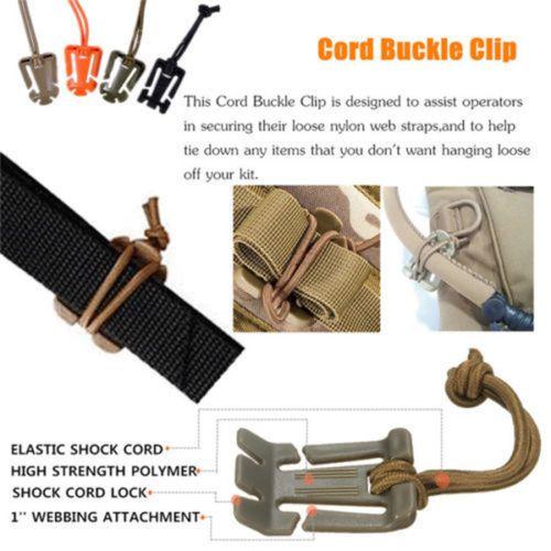 2Pcs Dominator Elastic Cord Hang Buckle Clip PALS MOLLE Style Webbing FO