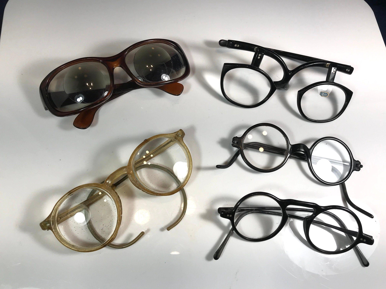Vintage Steampunk Eye GlassesLot Of 5BlackRoundRubber