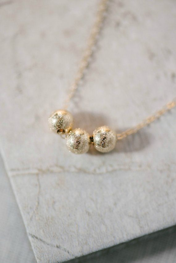 Delicate Gold Glitter Beads Necklace 14K Gold Filled by stansberry