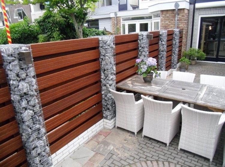 gabionenwand-gabionenzaun-moderne-gartengestaltung-holz-latten ... - Gartengestaltung Mit Holz