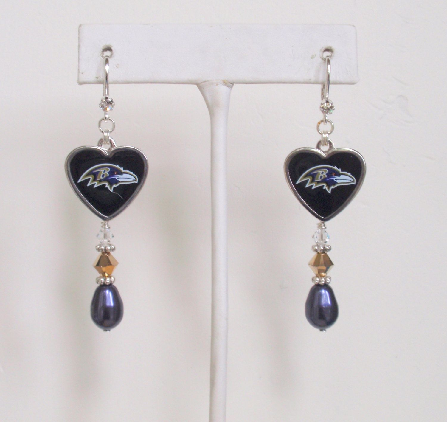 Baltimore Ravens Earrings, Little Piece of My Heart Swarovski Purple Pearl and Crystal Leverback Pro Football Earrings and Accessories by scbeachbling on Etsy