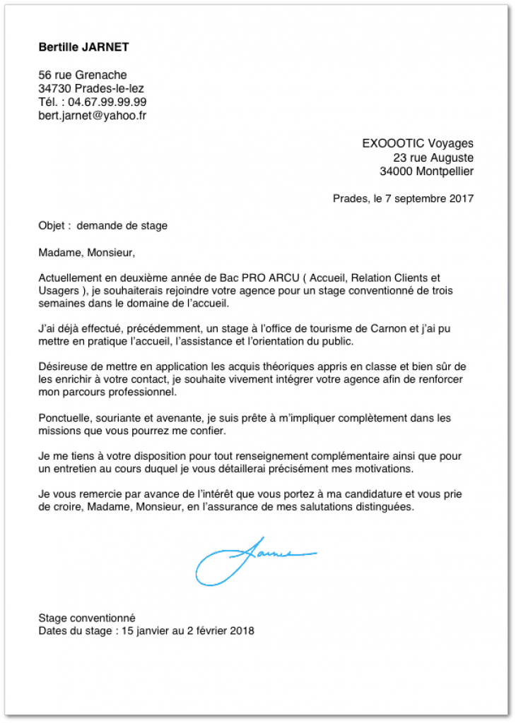 Exemple De Lettre De Motivation Pour Un Stage En Bac Pro Lettre De Motivation Stage Exemple De Lettre De Motivation Modele Lettre De Motivation