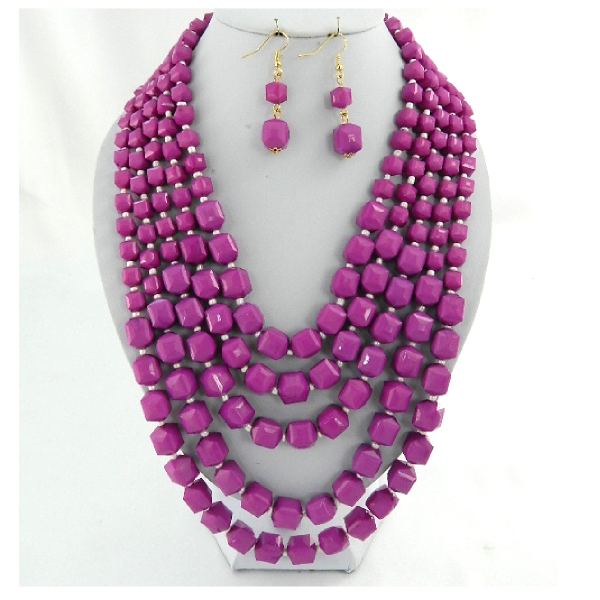 "Lilac 24"" layered beads necklace set"