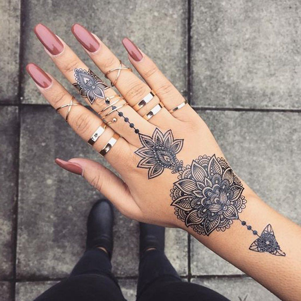 Aiyana Tribal Lotus Mandala Temporary Tattoo Finger Tattoos Hand Tattoos Pictures Hand Tattoo Images