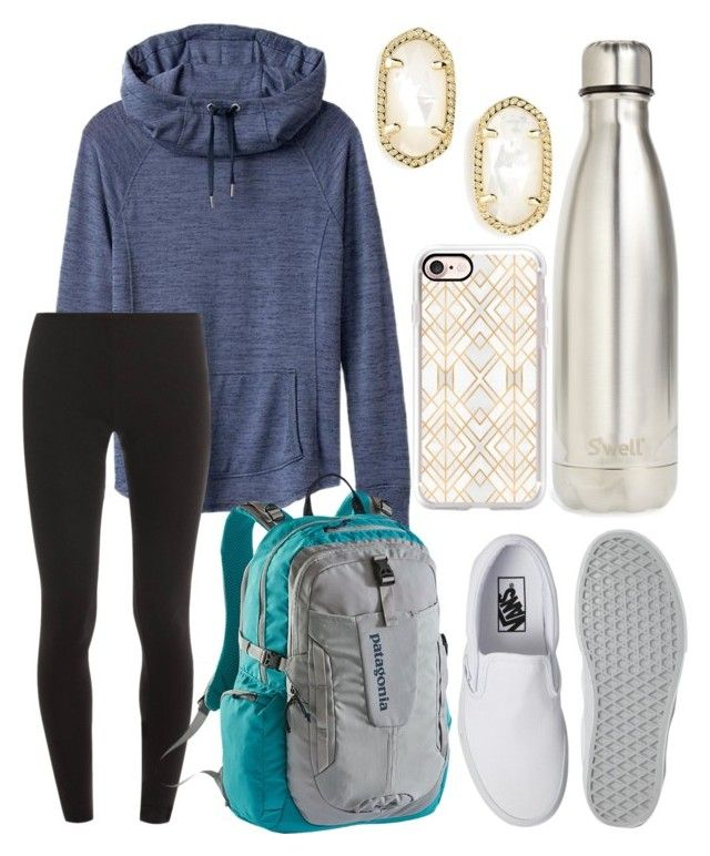 """School outfit"" by jadenriley21 on Polyvore featuring Athleta, Splendid, Patagonia, S'well, Vans, Casetify and Kendra Scott"