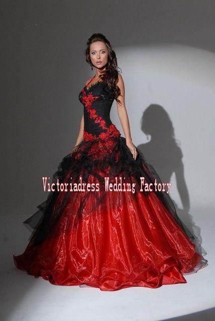 Casamento rouge et noir gothique robe de bal robes de mariée
