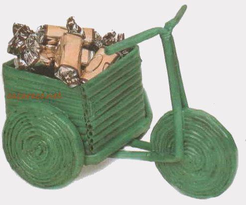 Artesanato com canudinhos de jornal - Motoca   Cacareco