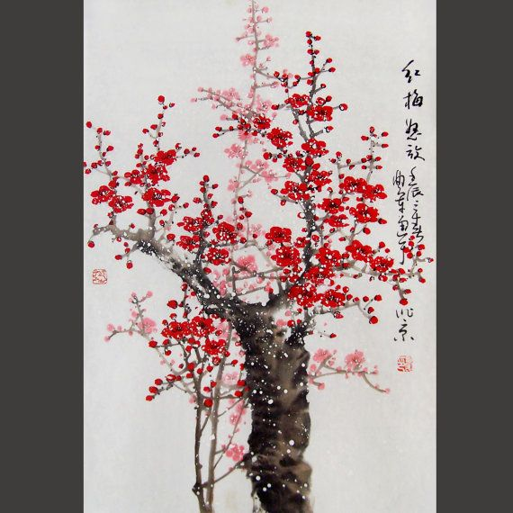 Original Painting Chinese Art Lovely Cherry Blossom Tree No 38