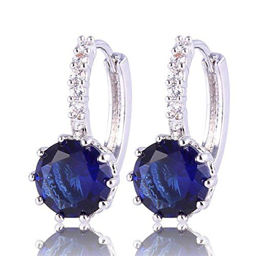 BMALL Vogue De Hoop Earing 18K White Gold Plated Grace Women Zircon Blue Earrings Engagement Gift E005f * Find out more about the great product at the image link. Note:It is Affiliate Link to Amazon.