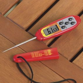 Shop Taylor Weekend Warrior Waterproof Digital Thermometer, 806E4L at CHEFS.  Yes, this is a great thermometer.. suggest you buy two!