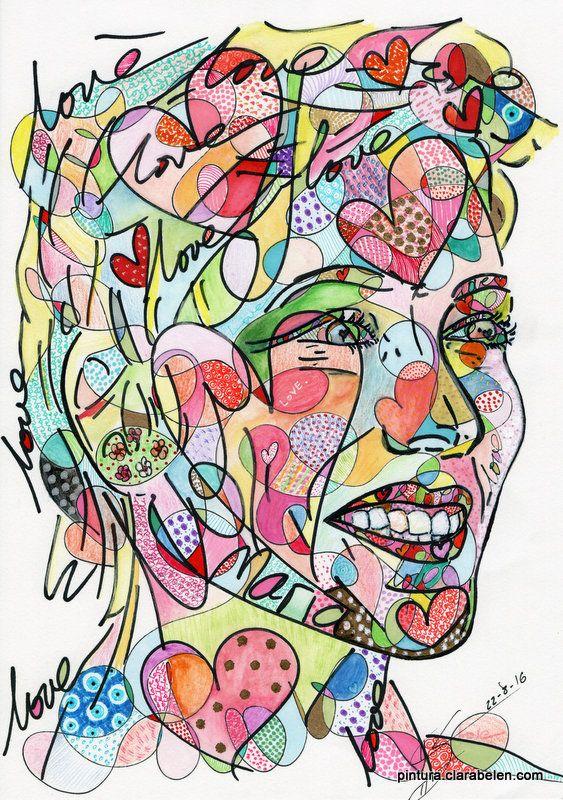 Retrato de Maria en estilo neopop | Clara Belén Gómez  #ilustracion #handmade #illustration #artsy #portrait #art #painting #walldecor #drawing #dibujo #hechoamano #handmade #modernart #neopop #neovanguardia #neo_pop #pintura #painting